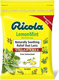 Ricola Lemon Mint Sugar Free Throat Drops, 105ct Bag
