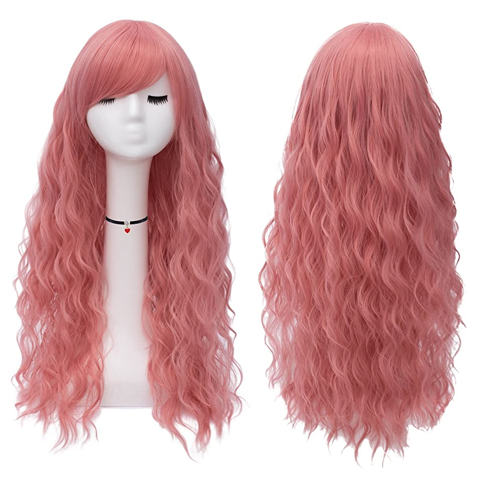Mildiso Long Pink Wigs for Women Girls Fluffy Curly Wavy Cosplay Wigs with Bangs Heat Friendly Synthetic Wig M047PK