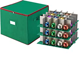 Tiny Tim Totes Premium Christmas Ornament Storage Chest Holds 75 Balls w/Dividers, Case, Green