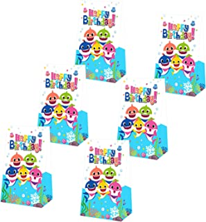 Yamatch 24 Pack Baby Little Shark Party Bags-Shark Baby Treat Bags Gifts Bags- Baby Cute Shark Themed Birthday PartySupplies Decorations- Perfect for kids little Shark Treatment(shark balloons, hanging swirls, cake toppers)