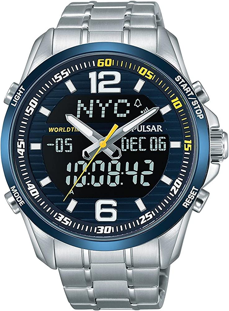 Seiko pulsar orologio analogico-digitale in acciaio inox PZ4003X1