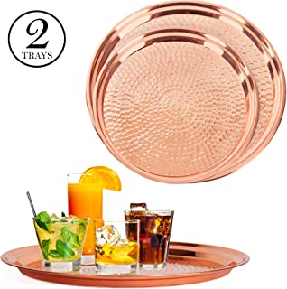 Colleta Home Copper Tray - 2 Pack - Large Tray 15 inch, Medium Tray 13 Inch - Copper Decorative Tray