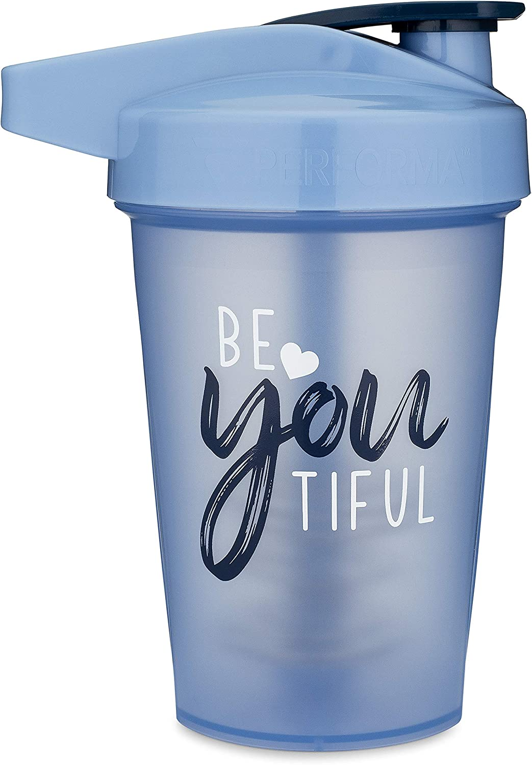 20-Ounce Shaker Bottle with Action-Rod Mixer | Shaker Cups with Motivational Quotes | Protein Shaker Bottle is BPA Free and Dishwasher Safe | Beyoutiful - Light Blue