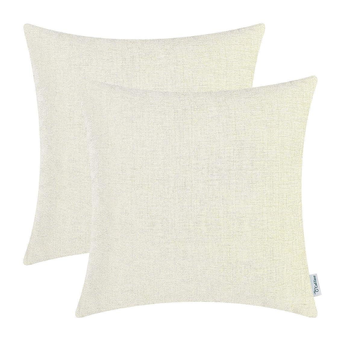 言及するオリエンタルキャロラインCaliTimeパック2のスロー枕カバーケースソファソファホーム装飾、ソリッド染色ソフトChenille、18?x 18インチ 20 X 20 Inches - Pack of 2 ベージュ DSC0367I50-Double