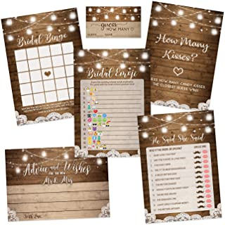 Rustic Bridal Shower Games | Set of 5 Games | 50 Sheets Each | Bridal Shower Games and Wedding Anniversary Activities | Includes Marriage Advice Cards and Emoji Game - 5 x 7 Inches