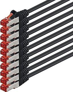 0,25m - Noir - 10 pièces - CAT6 Câble Ethernet Set - Câble Réseau RJ45 10/100 / 1000 Mo/s câble de Patch LAN Câble |Cat 6 ...