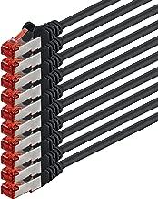0,25m - Negro - 10 Piezas - CAT6 Ethernet LAN Cable de Red Set 1000 Mbit/s Patchkabel CAT6 S-FTP Doble blindado PIMF 250MHz halógenos Compatible con CAT5 CAT6a CAT7 CAT8, Patch Panels