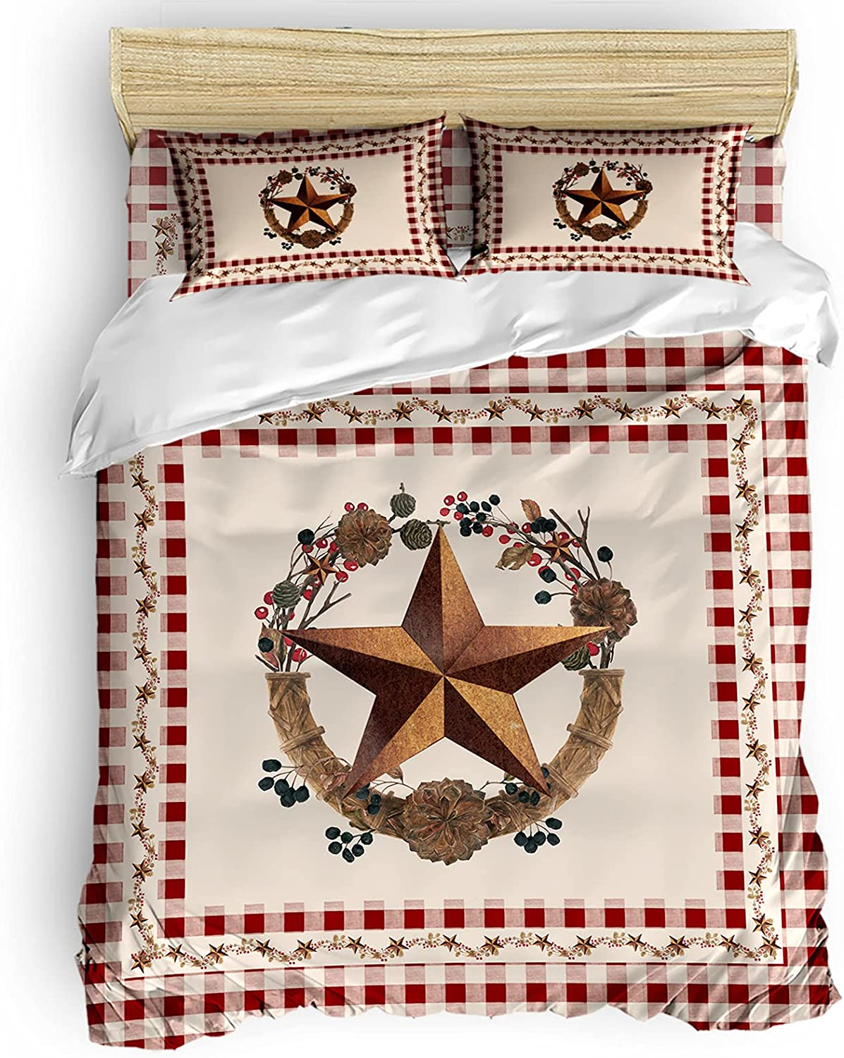 LooPoP 4pcs Duvet Cover Set Ranking TOP7 Vine Star Country Q Rustic and Special price for a limited time Berry