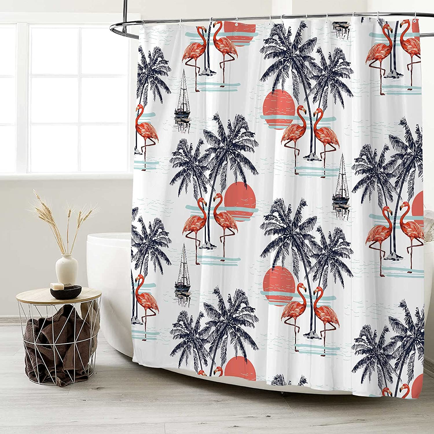 Seasonwood Summer Tropical Flamingo Shower 12 with Curtain Opening large Product release sale H Set