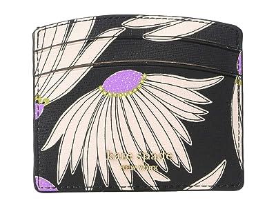 Kate Spade New York Spencer Grand Daisy Card Holder (Black/Multi) Handbags