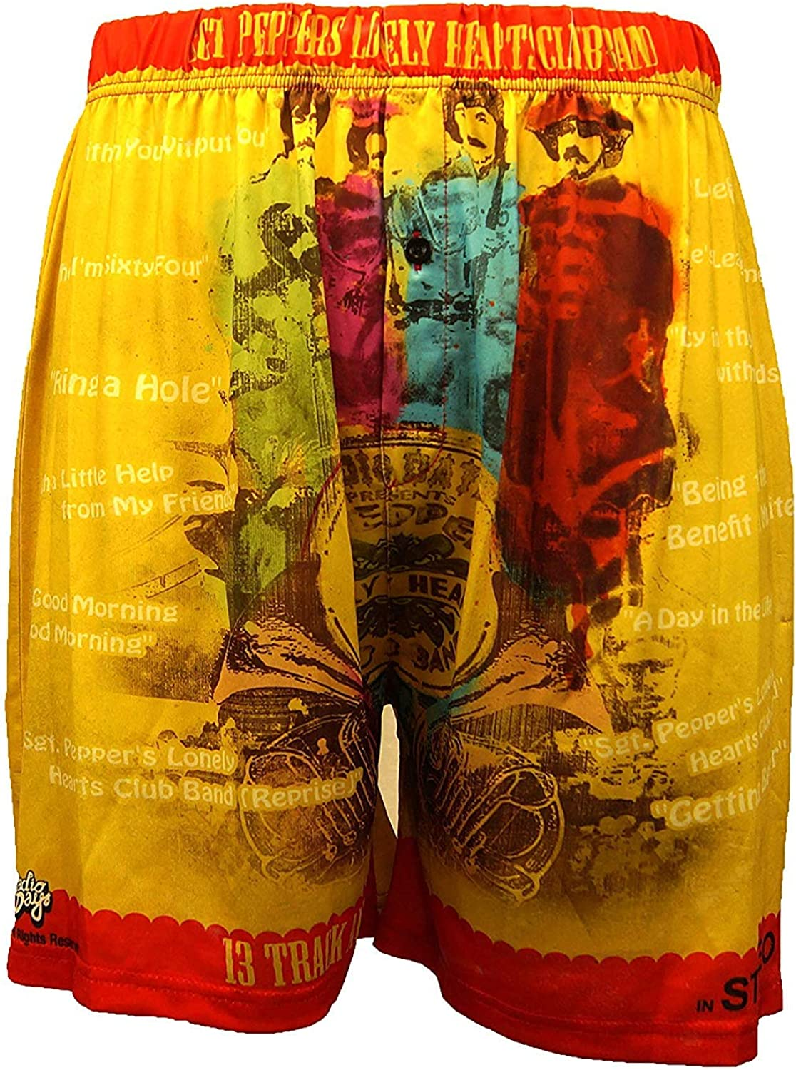 Sgt Peppers Lonely Hearts Boxers - Comfy, Lightweight, Loose Fit Fab Four Band Underwear - Casual Night Shorts For Men/Women
