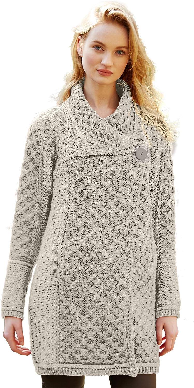 100% Irish Merino Wool Single Button Ladies Plated Coat by Westend Knitwear