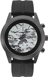 ساعة كينيث كول ريأكشن للرجال انالوج كوارتز معدنية من الفولاذ المقاوم للصدأ/حزام سيليكون