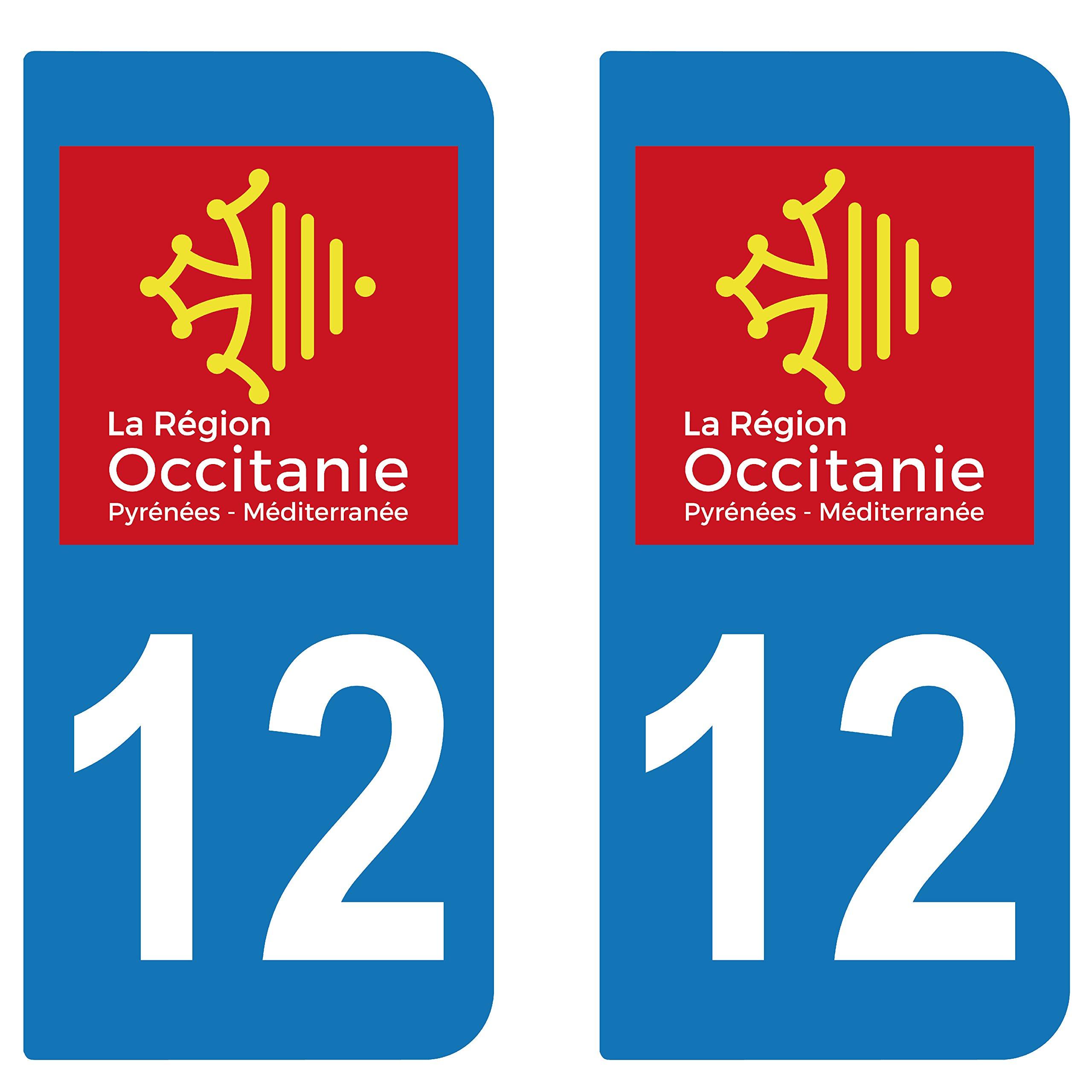 SupStick 2 adhesivos adhesivo para matrícula Departement 12 Aveyron Region Occitania: Amazon.es: Coche y moto