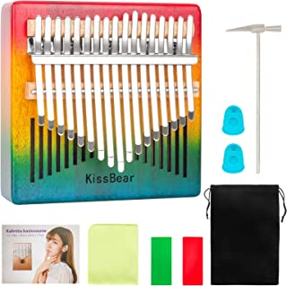 $24 » Kalimba Thumb Piano, KissBear 17 Keys Mbira Musical Instrument with Tuning Hammer Wood Finger Piano for Kids, Adults, Begi...
