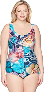Maxine Of Hollywood Women's Plus Size Shirred Front Girl Leg One Piece Swimsuit