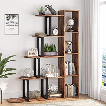 Tribesigns 5-Tier Vintage Bookshelf Industrial Bookcase, 5 Shelf Corner Ladder Shelf Rustic Display Shelf Storage Organizer for Living Room, Home Office (Rustic Brown)