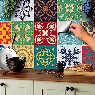 24x Color de la mezcla Lámina impresa 2d PEGATINAS lisas para pegar sobre azulejos cuadrados de 15cm en cocina, baños – re...