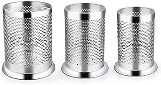 LIANYU Utensil Holder Set of 3, Stainless Steel Large Medium Small Kitchen Cooking Utensil Organizer, Silverware Flatware Holder Cylinder, Micro-perforated, Dishwasher Safe