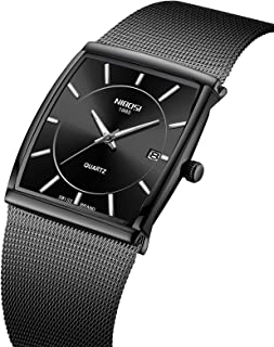 Men's Watches Business Fashion Top Brand Luxury Dress Casual Watch Mesh Strap Waterproof with Date Square Wristwatch