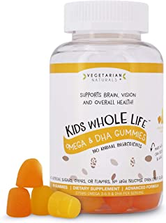 Vegetarian Naturals® Kids Whole Life™ Omega 3-6-9 & DHA Gummies 275 mg per Serving. Vegetarian & Gluten-Free. Free from Artificial Sugars, Colors & Flavors or High- Fructose Corn Syrup!