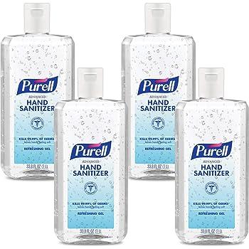 PURELL Advanced Hand Sanitizer Refreshing Gel, Clean Scent, 1 Liter Flip Cap Bottle (Pack of 4) – 9683-04