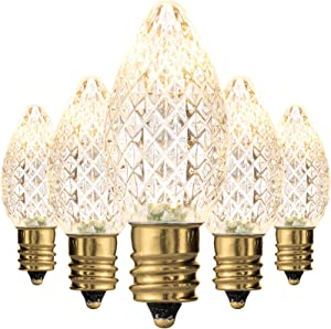 Holiday Lighting Outlet Faceted C7 Christmas Lights | Sun Warm White LED Light Bulbs Holiday Decoration | Warm Christmas Decor for Indoor & Outdoor Use | 2 SMD LEDs in Each Light Bulb | Set of 500