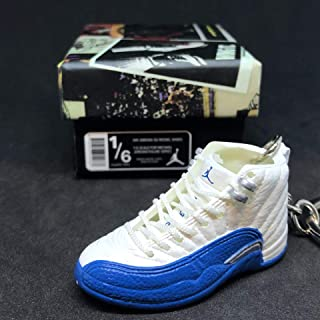 Air Jordan XII 12 Retro French Blue White OG Sneakers Shoes 3D Keychain 1:6 Figure + Shoe Box
