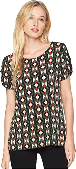 Printed Short Sleeve w/ D-Ring Detail