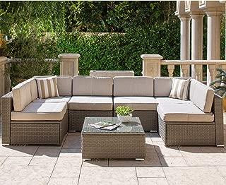SOLAURA Outdoor Furniture Set 7-Piece Wicker Furniture Modular Sectional Sofa Set Light Gray Wicker Light Gray Olefin Fiber Cushions (YKK Zipper) with Waterproof Cover