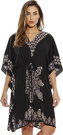 Riviera Sun Short Caftan Dress for Women with Medallion Print
