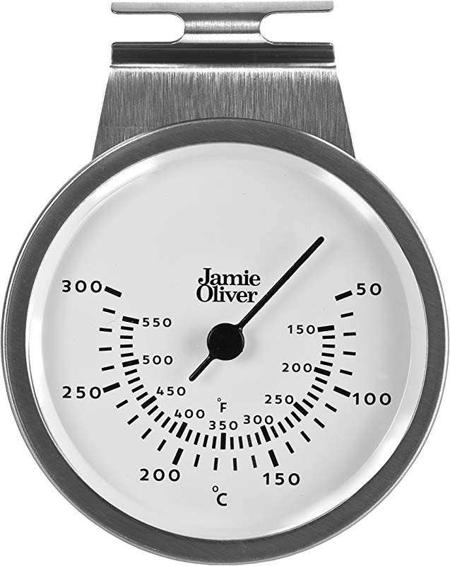Jamie Oliver Oven Thermometer Hanging Or Standing Large And Easy To Read Stainless Steel