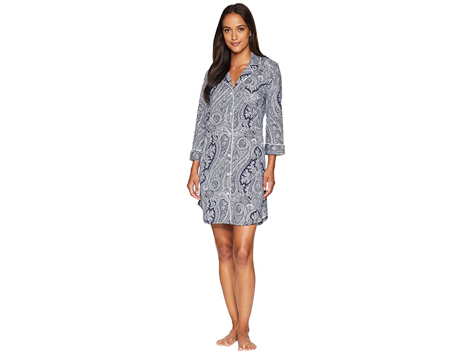 LAUREN Ralph Lauren Essentials Bingham Knits Sleep Shirt (Navy Print) Women