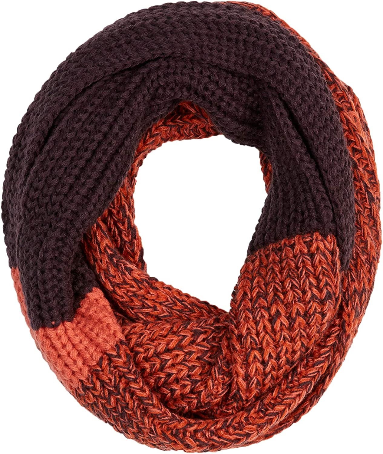 UNDER ZERO Women's Winter Ribbed Limited time sale Quantity limited Scarf Purp Knit Orange Infinity