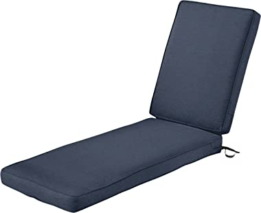 Classic Accessories Montlake Water-Resistant 80 x 26 x 3 Inch Patio Chaise Lounge Cushion, Heather Indigo Blue