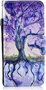 Galaxy 2018 Case  Bear Village  Color Pattern Flip Leather Case Shockproof Silicone Back Cover with Card Slot and Stand Function for Samsung Galaxy 2018   6 Tree