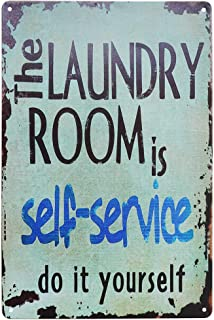 SKYC The Laundry Room is Self Service Retro Vintage Wall Plaque Sign Home Bathroom Laundry Room Decor Wash Room Signs 8X12Inch