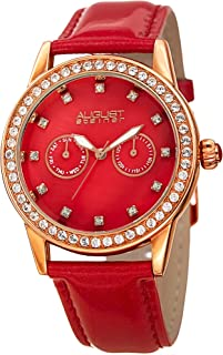 August Steiner Women's Red Dial Leather Band Watch - As8234Rd, Analog Display