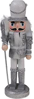"""Clever Creations Traditional Soldier Nutcracker Collectible Wooden Christmas Nutcracker   Festive Holiday Decor   Sparkling White and Silver Uniform   Holding Halberd Axe   100% Wood   9.5"""" Tall"""