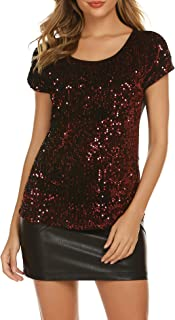 SoTeer Women's Sequin Top Shimmer Sparkle Glitter Loose Bat Sleeve Party Tunic Tops