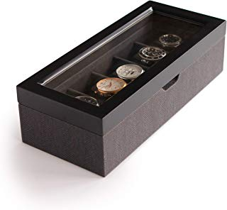 Two-Toned Herringbone and Solid Wood Watch Box Organizer Case with Glass Display Top by Case Elegance