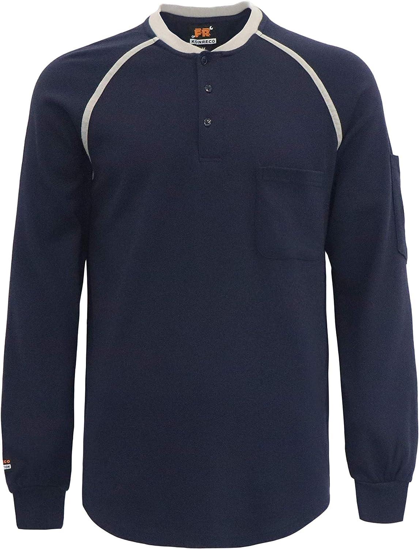 KONRECO FR Shirts for Men 7oz Flame Resistant Long Sleeve Henley 2 Pockets Welding T-Shirt