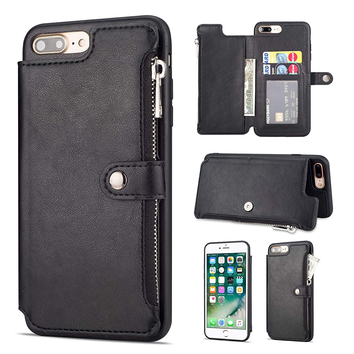 Yobby Leather Zipper Back Wallet Case for iPhone 7 Plus, iPhone 8 Plus Slim Black Case with Card Holder,Shockproof Protective Bumper Stand Magnetic Closure Cover
