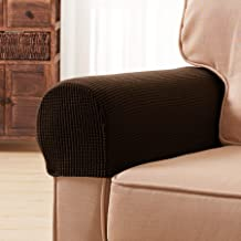 Subrtex Spandex Stretch Fabric Armrest Covers Anti-Slip Furniture Protector Armchair Slipcovers for Recliner Sofa Set of 2(Chocolate)