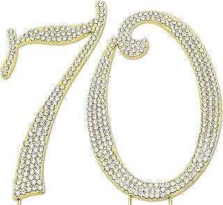 Sparkly Rhinestones Number 70 Cake Topper, Birthday Wedding Anniversary Gold Number 70