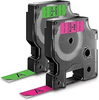 DYMO Standard D1 1933238 Labeling Tape ( Black Print on Neon Tape , 1/2'' W x 10' L , 1 Cartridge)