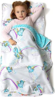 """JumpOff Jo – Little Jo's Toddler Nap Mat – Children's Sleeping Bag with Removable Pillow for Preschool, Daycare, and Sleepovers – Original Design: Unicorn Pixie Dust - 43"""" x 21"""""""