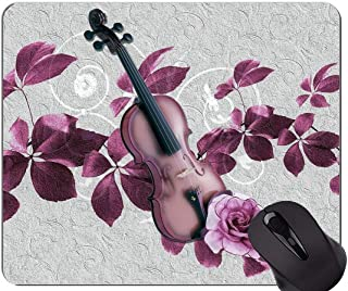 Natural Rubber Mouse Pad Printed with Leaves violin rose purple art -Stitched Edges