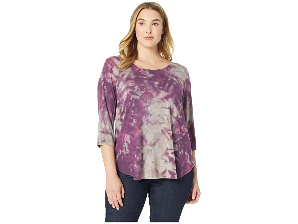 Karen Kane Plus Plus Size 3/4 Sleeve Top (Tie-Dye) Women