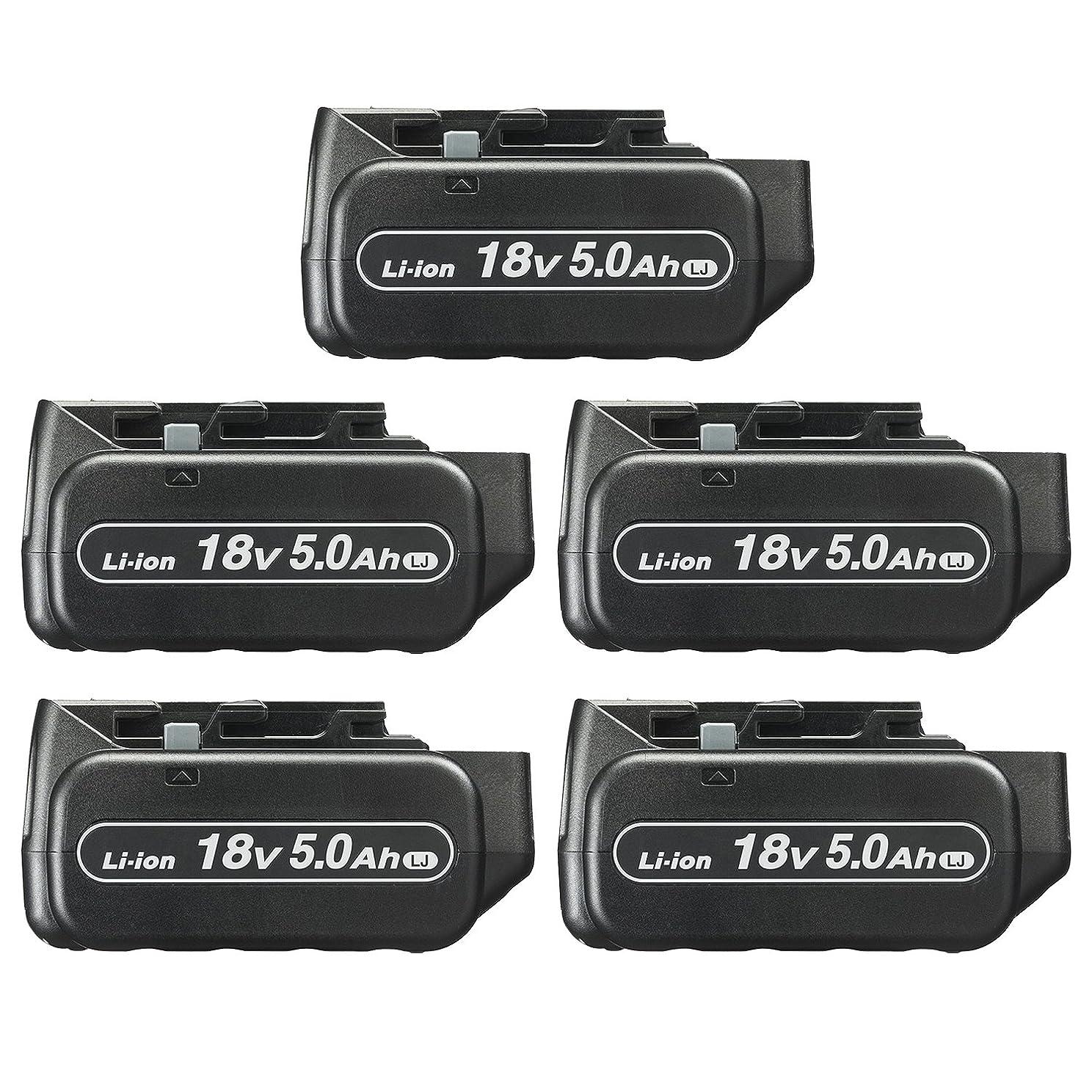 愚かパートナー段落パナソニック 電池パック 18V5.0Ah 5台セット (14.4V/18V/21.6V/28.8V対応) (充電器付き) EZ9L54